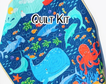 Ocean Quilt Kit, Sea Fish Octopus Whales, Nautical Crib Blanket, Quilting DIY Sewing Project, Boy or Girl, Beginner Quilt Kit, Panel Fabrics