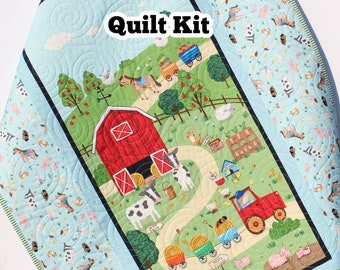 Farm Animal Quilt Kit Quick Easy Fun Beginner Project Quilting Fabrics Baby Nursery Farm Bedding Cow Horse Pig Barnyard Newborn Panel