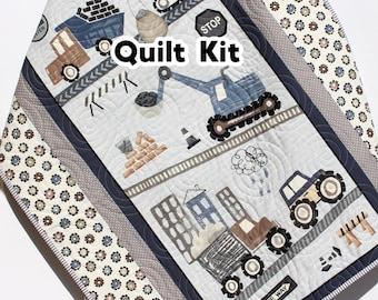 Boy Quilt Kit, Construction Baby Panel Quick Easy Fun Beginner Roadwork Ahead Sewing Project Quilting Ideas Newborn Gifts Cranes Dump Trucks