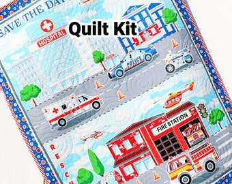 Quilt Kit Rescue Fire Fighter Ambulance Police Panel Quick Easy Fun Beginner Project First Responders Baby Boy Save the Day Newborn Blanket