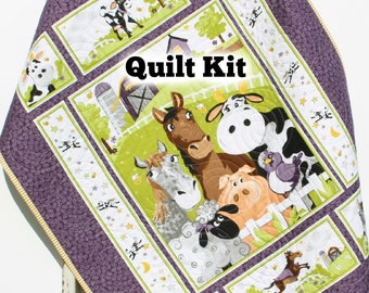 Backyard Buddies Quilt Kit, Farm Panel Quick Easy Fun, Beginner Project, Quilting Fabrics, Baby Nursery Bedding Cow Horse Pig Animals Sheep