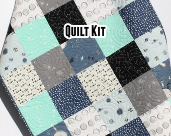 Space Quilt Kit, Baby Toddler Throw Twin Size, Stargazer Planets Moons Stars Galaxy Navy Blue Aqua Grey Gray Black Patchwork Boy Child