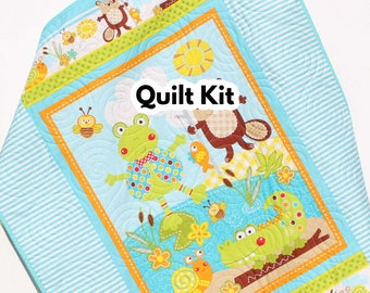 Quilt Kit Polk Dot Pond Baby Boy or Girl Panel Quick Easy Monkey Beaver Alligator Animals Nature Outdoors, Brown Blue Orange