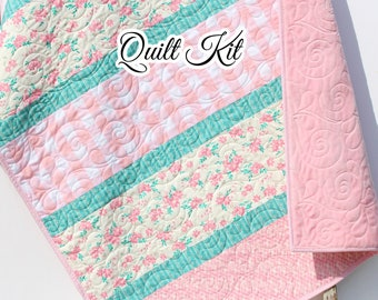 Quilt Kit, Striped Beginners, Farmhouse Floral Plaid, Pink Flowers, Projects for you to Make, Baby or Toddler, Teal Keepsake Gift Handmade