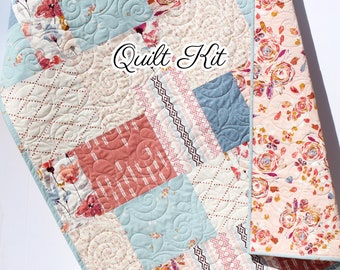 Quilt Kit, Modern Art Gallery Fabrics Baby Quilt Kit Throw Quilt Kit Twin Quilt Kit Floral Flowers Coral Shell Minky Rosewood Blue Sewing