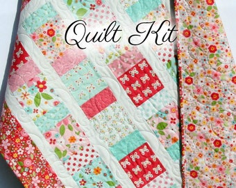Sewing project kit etsy baby girl quilt kit garden girl riley blake fabrics craft project quilting sewing diy do it yourself ideas charm pack precut quilt kit solutioingenieria Images