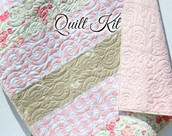Quilt Kits for Beginners, Farmhouse Plaid, Pink Vintage Floral, Projects for you to Make, Baby or Toddler, Floral Keepsake Gift Handmade Kit