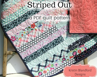 Jelly Roll Quilt Pattern Striped Out Strip Throw Easy Beginner Pattern 2.5 inch Strips, Lap Throw Scrappy Quilt Pattern PDF Instant Upload