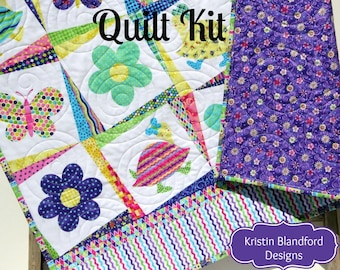 LAST ONES Girl Quilt Kit, Topsy Turvy Northcott, Panel Stripe, Quick Easy Fun, Beginner Project Pink Purple, Baby Toddler Flowers Butteflies