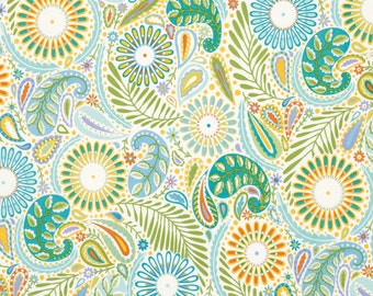SALE Happi by Dena Designs Paisley Blue PWDF152 Pastel Baby Fabrics Blue Green Light Blue One Yard