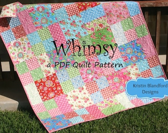 Layer Cake Quilt Pattern, Whimsy, Moda Baby Quilt and Throw Simple Fast Easy Beginner Quilt Pattern, Ten Inch Squares Precuts, PDF File