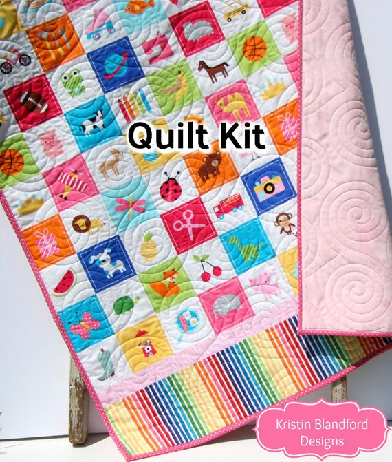 I Spy Quilt Kit For Girls Panel Beginner Project Sewing Etsy