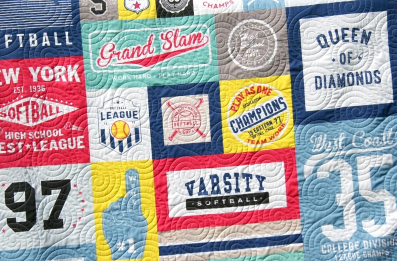 Sewing Project Large Panel Minky Adult Blanket Home Decor Gift for Girl Faux Patchwork Softball Quilt Kit Varsity Sports Throw Blanket