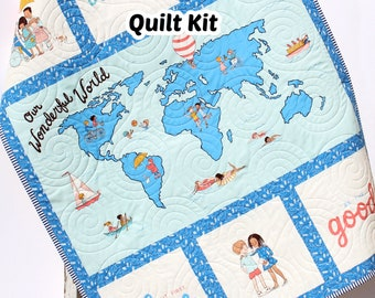 Baby Quilt Kit Our Wonderful World Panel Quick Beginner Project Fabrics Bundle Set Baby Nursery Bedding DIY Gender Neutral Cultures