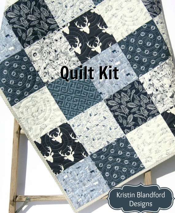 Quilt Kit, Boy Woodland Rustic Navy Blue, Baby Blanket Project, Buck Forest  Night, Crib Bedding Quilting Sewing Boy Toddler Bedding