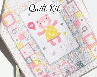 Cuddly Cat Quilt Kit Panel Blanket Baby Sewing Project Nursery Bedding Beginner Simple Fabric Bundle Set Tiny Tots Newborn Infant Light Pink