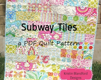 Baby Quilt Pattern Subway Tiles Fat Eighths Simple Fast Throw Brick Layer Look Beginner Intermediate Kristin Blandford Designs Quilt Pattern