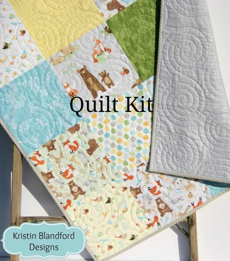Patchwork Quilt Kit, FLANNEL Baby Blanket Woodland Forest Fox Deer Bear Owl  Outdoor Brown Grey Gray Green Sweet Meadow Boy or Girl Soft Cozy