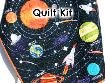 LAST ONE Space Quilt Kit Baby Blanket Project Spaceships Rockets Planets Science Bedding Outerspace Beginner Panel Simple Quick Easy Crib