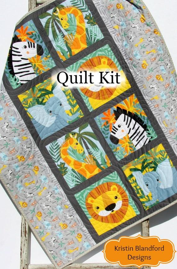 ff7b5a8fb6bac Quilt Kit, Safari Soiree Animals, Giraffe Lion Zebra Elephant, Boy or Girl  Baby Quilt Kit Grey Gray Black Yellow Sewing DIY Quilting Kit