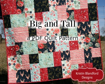 Big Block Quilt Pattern, Modern Mosaic, Big and Tall, Fat Quarter Throw Baby Lap Quilting Size Fast Easy Simple Contemporary Beginner, Large