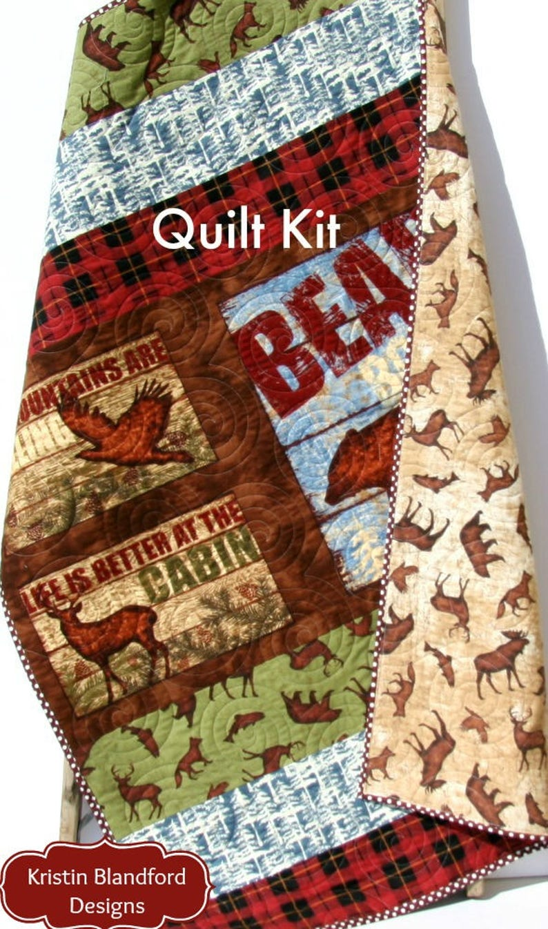 Wilderness Quilt Kit FLANNEL Baby Blanket Panel Quick Kit Boy Buffalo Check  Plaid Quilting Cabin Deer Bear Fish Outdoors Woodland Mountains
