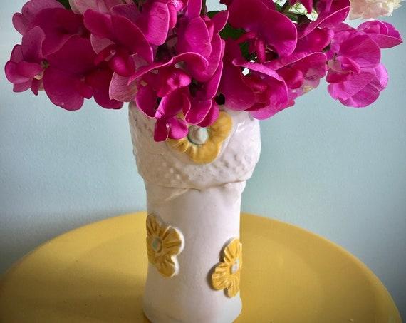 Flower vase, yellow white vase, ceramic vase, handmade vase, pottery vase, small vase