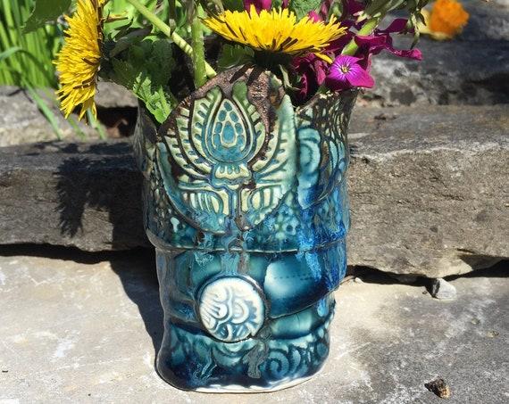 Teal Blue Vase, Small vase, Pottery Vase, Stamped Pottery, Posey vase, Coiled vase, organic shape,