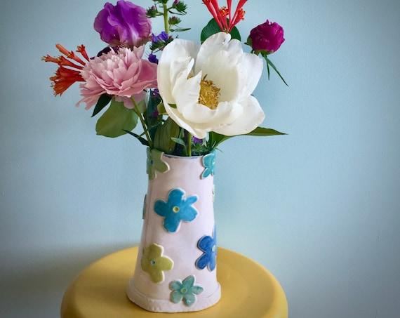 Ceramic Flower Vase, Pastel Vase, Pottery Vase, Flower Vase, White Vase, handmade vase, textured, blue green