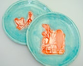 Mid Century Modern plates, small plates, Mad Men cocktail plates, hand painted plates, dessert plates, Decorative Plates, aqua coral