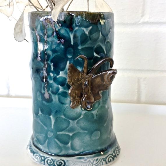 Flower Vase, Ceramic Flower Vase, Butterfly Vase, Pottery Vase, Stoneware Vase, Blue vase, Blue and Bronze Vase, Small vase, Handmade Vase,