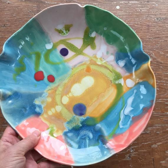 Shallow Bowl, Serving Bowl, Fruit Bowl, Organic Shape Bowl, Abstract Bowl, Handpainted Bowl, Pottery Bowl, Ceramic Bowl, Colorful bowl,
