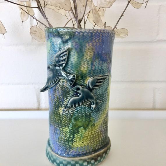 Flower vase, blue green vase, bird vase, dove vase, ceramic vase, pottery vase