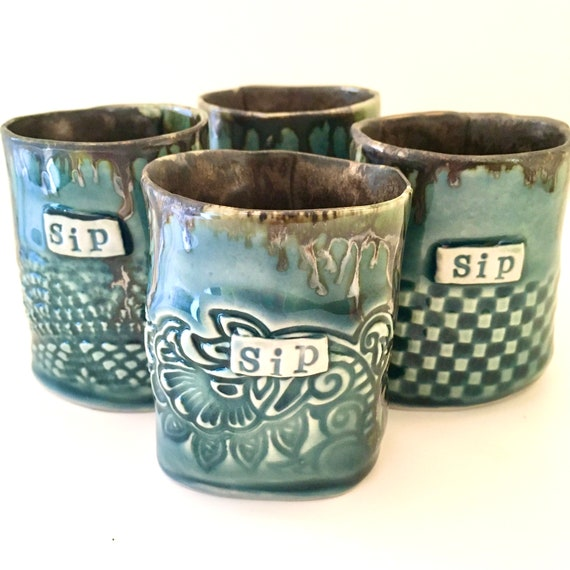 Four shot glasses, espresso cup set, Tequila shot glass, ceramic shot glasses, small tumblers, small cups, whisky cups, whiskey cups,
