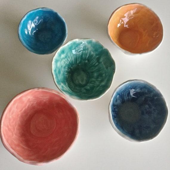 Pinch Pot Set, Prep Bowls, salt bowls, trinket bowls, Spice bowls, jewelry holder, ring dish, nuts bowls, snack bowls,