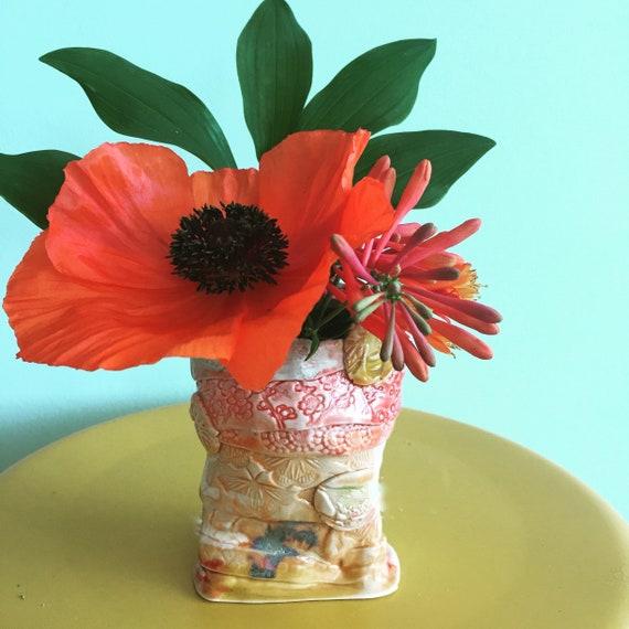 Tiny Vase, Small vase, Pottery Vase, Stamped Pottery, Posey vase, Coiled vase, organic shape, orange yellow vase