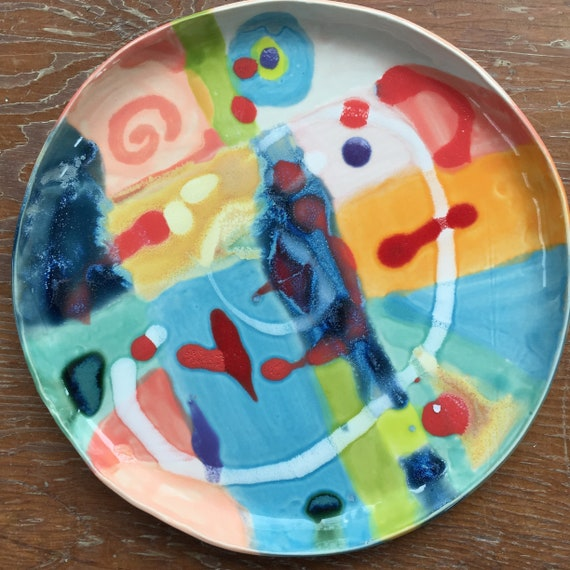 Round Platter, Abstract Design, Modern Ceramics, Serving Platter, Abstract Ceramics, Modern Decor, BOld Color, Serving Piece,