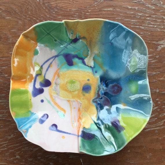 Small Serving Bowl, Abstract Art Bowl, Hand patined pottery bowl, Ceramic Bowl, Colorful Bowl, Organic Shape bowl, Pottery Bowl,