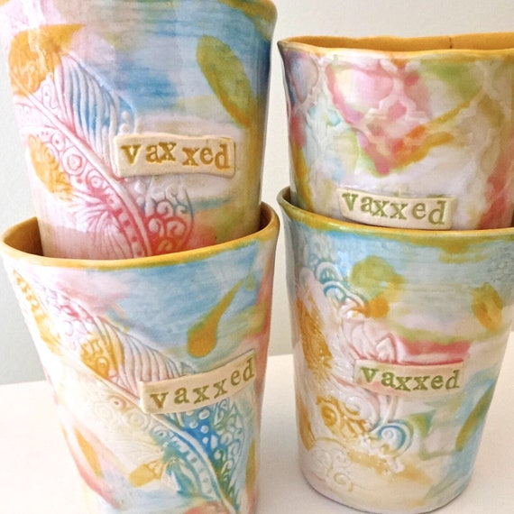 Tumblers, Wine Cup, Juice Cup, Vaccinated, I'm Vaxxed, Ceramic Cup, Pottery wine glass, Fuck Covid, Handpainted Cup, Pastel Cup, Coffee Cup
