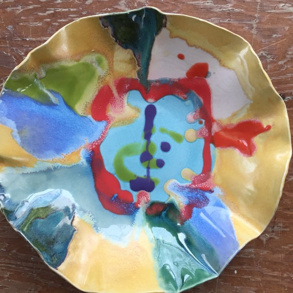 Serving Bowl, hand painted bowl, Abstract, Modern Bowl, Ceramic bowl, Pottery Bowl, Organic Shape, Yellow Red, Modern Decor, Fruit Bowl,