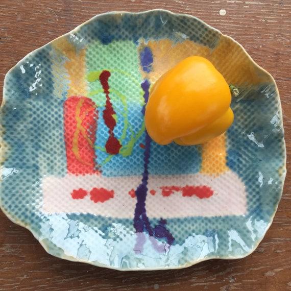 Serving Platter, Organic Shape, Handpainted plate, Abstract Ceramics, Blue green red, Modern ceramics, Contemporary ceramics, ceramic plate