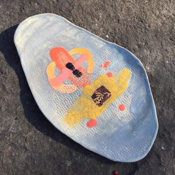 Ceramic serving platter, abstract design, medium platter, porcelain platter, contemporary ceramic, modern ceramics