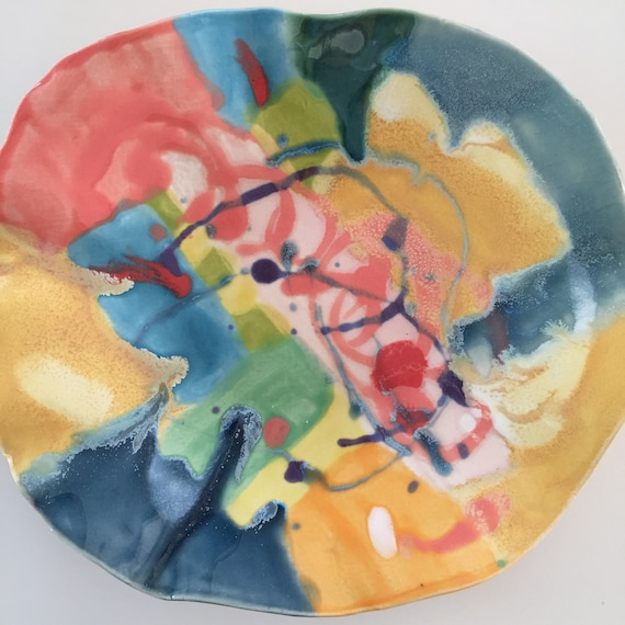 Serving plate, small platter, abstract design, modern ceramics, pottery plate, art plate, abstract ceramics, handpainted plate, ooak