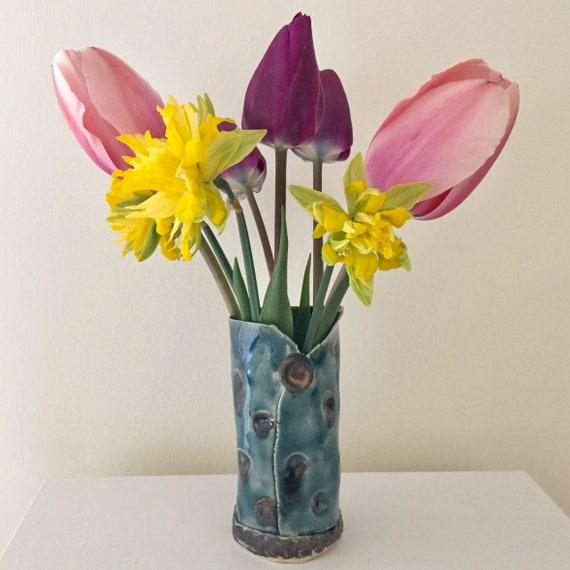 Ceramic vase, polka dot vase, Small Vase, Handmade Vase, Pottery Vase, Blue Bronze Vase, Posy vase