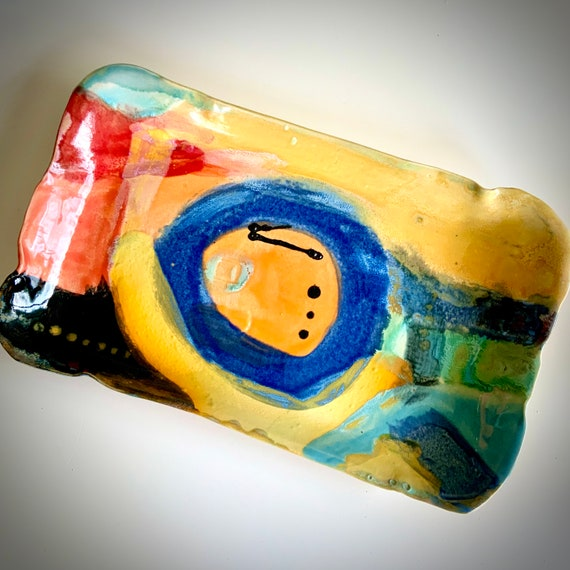 Rectangle Ceramic Serving Dish, abstract platter, abstract pottery, abstract ceramic, orange yellow, bold pattern, hand painted ceramic