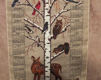 1986 Linen Tea Towel Calendar Wildlife Animals and Birds Calendar