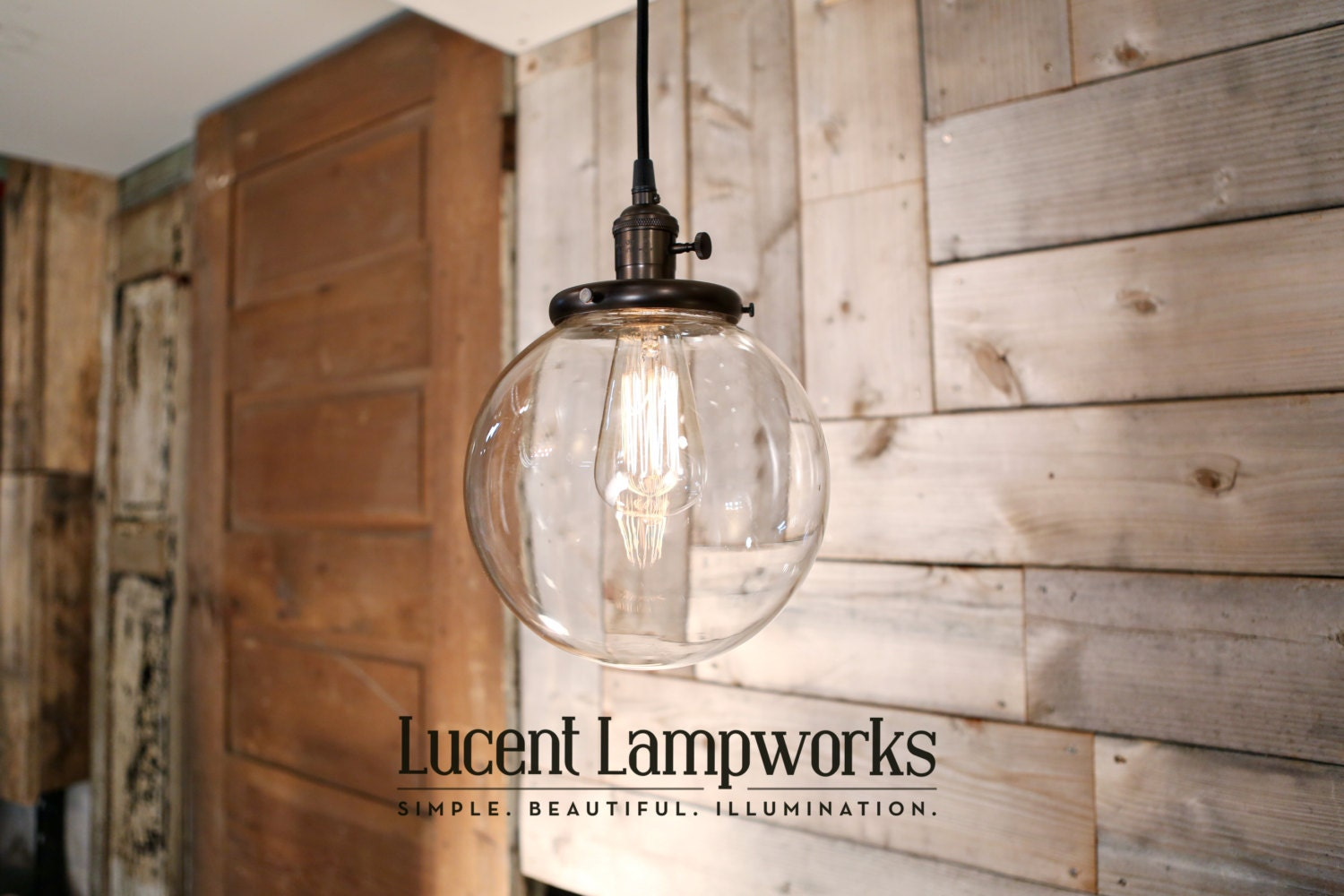 Clear Glass Globe Pendant Fixture 8 Inch Etsy
