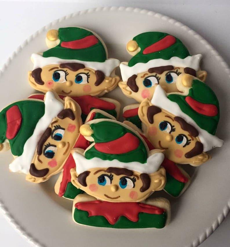 Elf Christmas Cookies Holiday Cookies Elf Cookie Elf Gifts Cookie Exchange Christmas Favors Decorated Cookies Cookies Christmas Gift