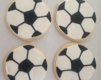 Soccer Ball Sugar Cookies - soccer cookies- socccer gifts - soccer birthday - soccer favors - sports birthday - soccer birthday party