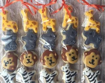 Mini Zoo Animal Birthday Sugar Cookies (1 bag) - Safari Birthday Party - Safari Baby Shower Favor - Zoo Baby Shower - Decorated Sugar Cookie